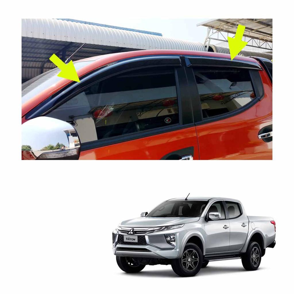 กันสาดฝน 4ประตู ใส่ มิตซูบิชิ สีดำ สำหรับ Mitsubishi L200 Triton MQ 4x2 4x4 ปี 2019-2020