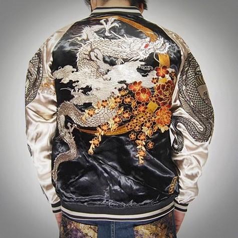 SUKAJAN พรีเมียมเกรด Japanese Souvenir Jacket แจ็คเกตซูกาจันลาย Silver Dragon Golden Moon