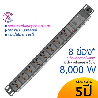 High Power 8000W  Power Distribution Unit For Cabinet (PDU) รางปลั๊กไฟ 8 ช่อง 8 Universal Outlet Lighting 32A 8000W