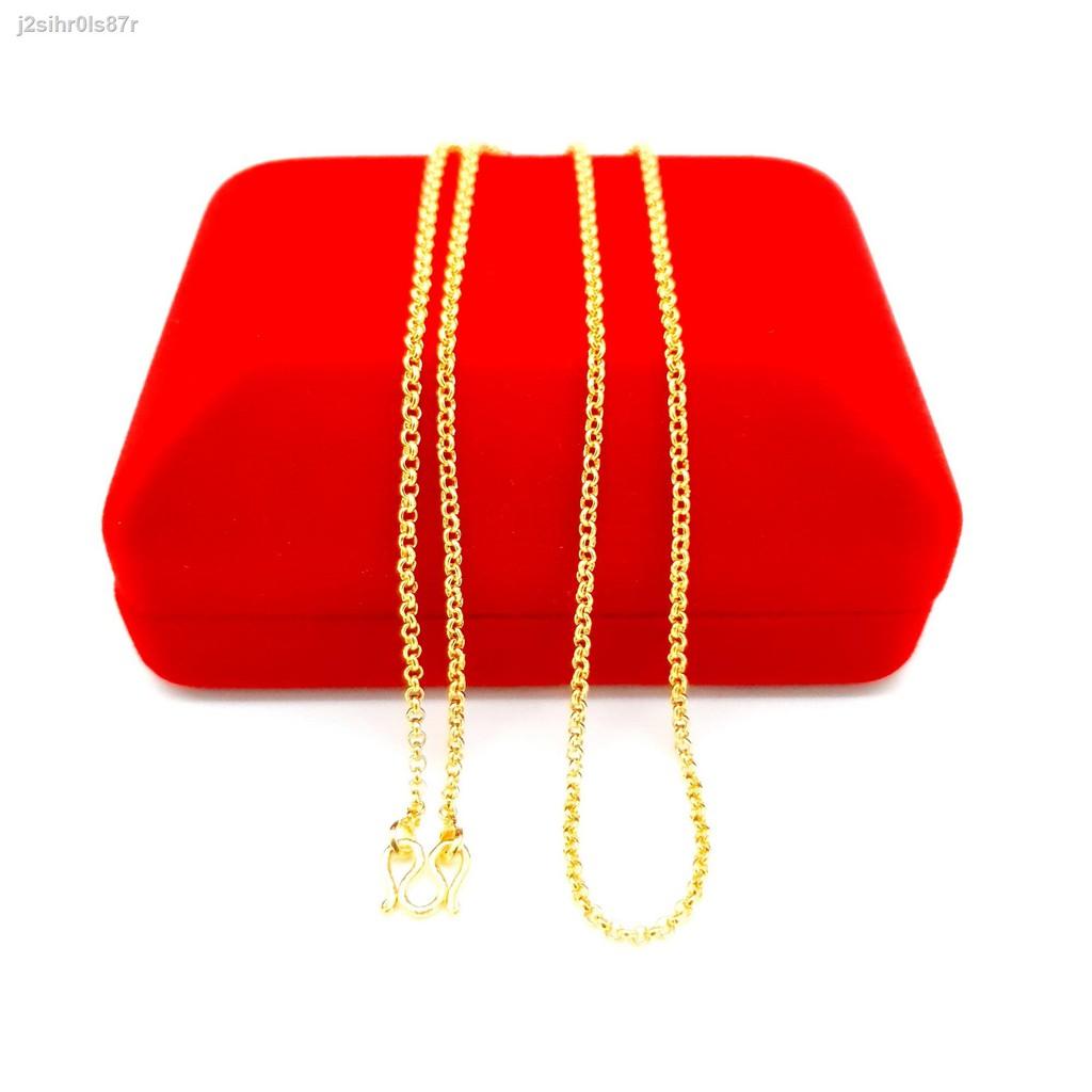 【ลดราคา】♂สร้อยคอทองน้ำหนัก 1 สลึงลายผ่าหวายความยาว 18 นิ้วสินค้าขายดีโยนทองเยาวราชชุบทอง 100% งานฝีมือจากช่างเยาวราช