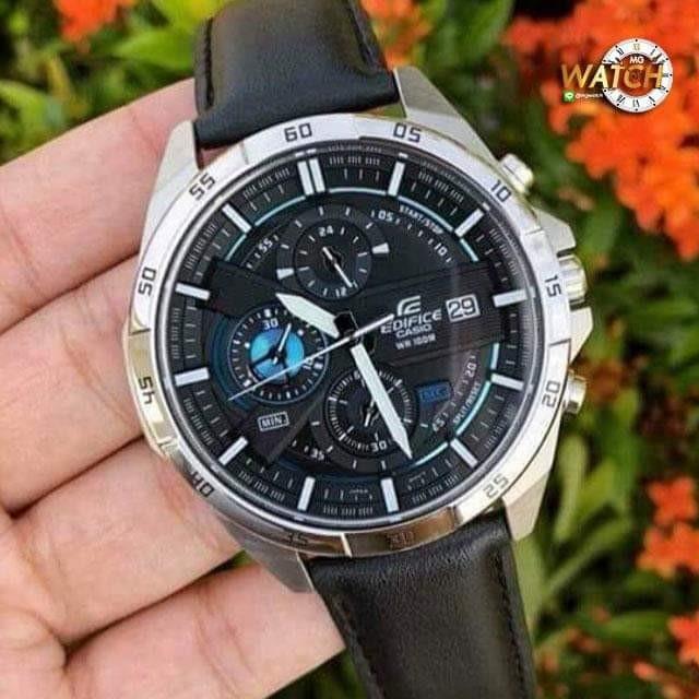 นาฬิกาข้อมือผู้ชายยี่ห้อ Casio Edifice สายหนังเรือนสแตนเลส รับประกัน 1 ปี ใช้ได้ทุกเข็ม Mgwatch