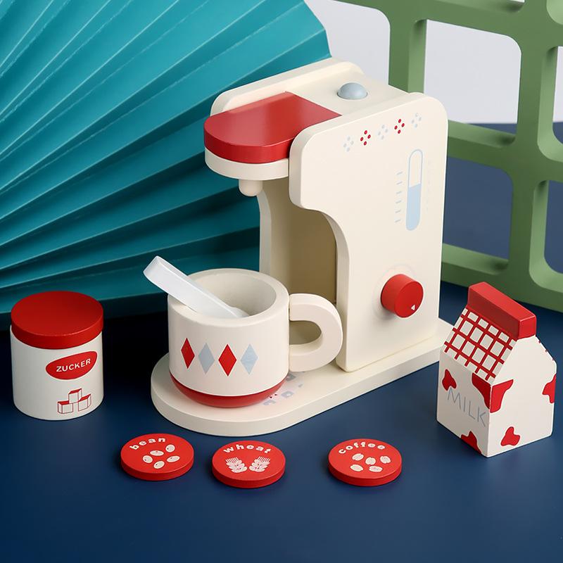 【Ready Stock】ห้องครัวไม้จำลองสำหรับเด็กเครื่องทำขนมปังไม้เครื่องชงกาแฟเครื่องทำแพนเค้กผสมเล่นบ้านของเล่น