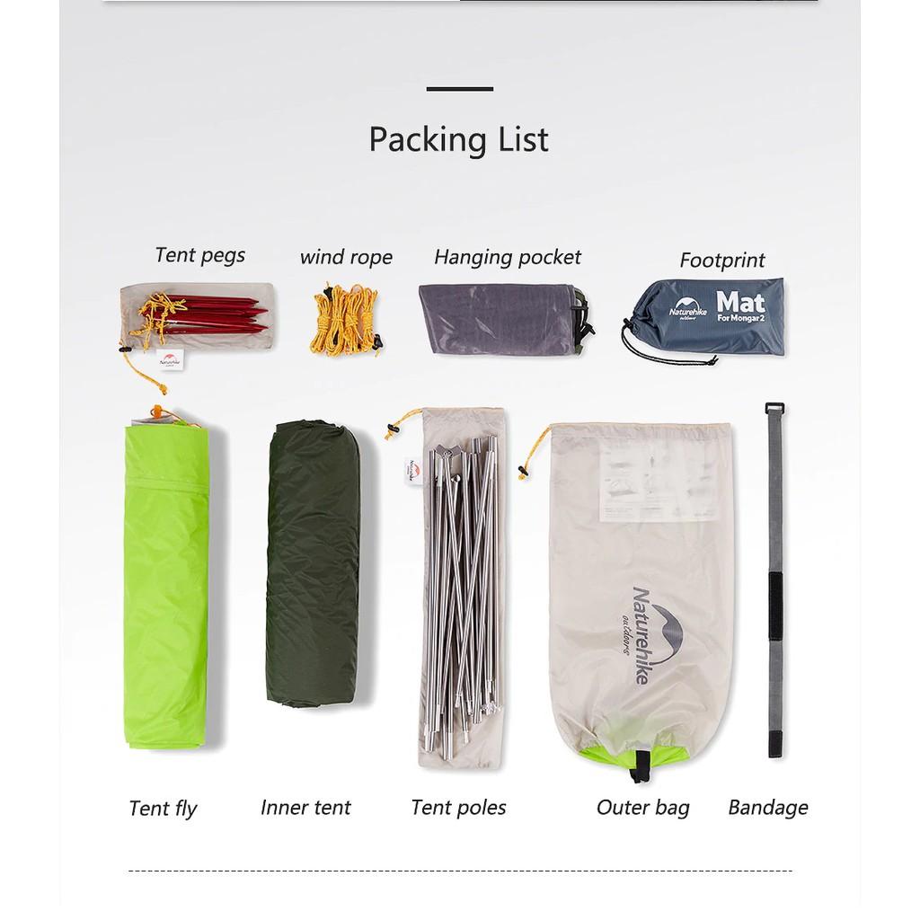 +พร้อมส่ง+ Naturehike Mongar 2 15D tent 3 season เต็นท์ 3 ฤดู สำหรับ 2 คน น้ำหนักเบา เหมาะกับ Outdoor camping pX5c1