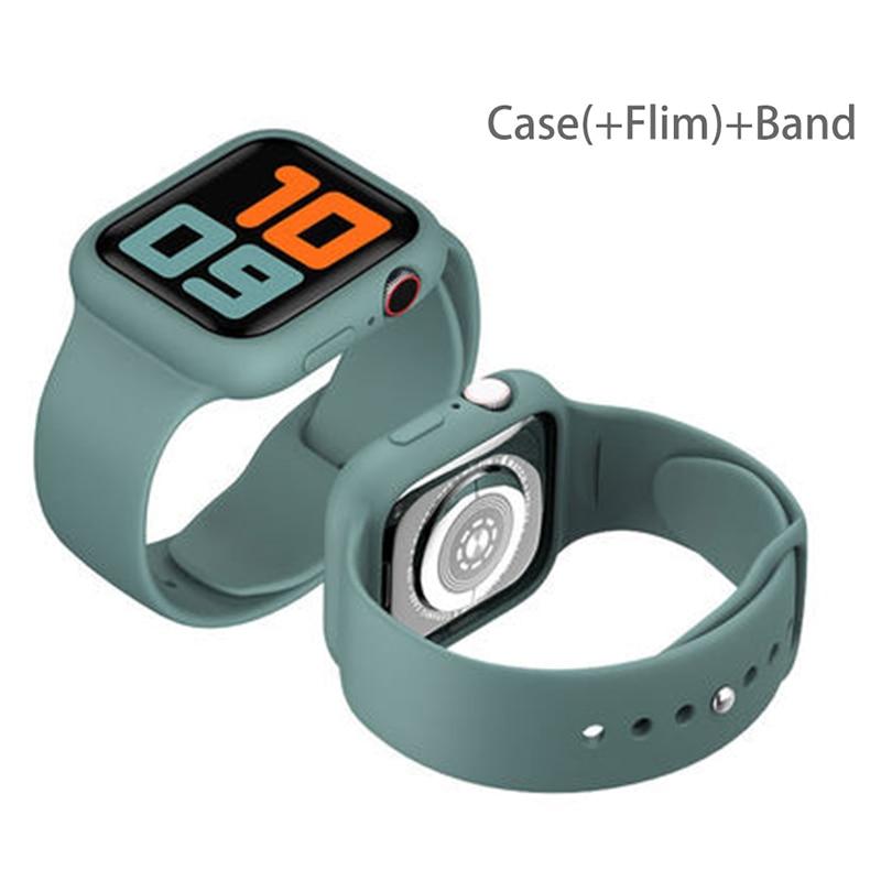 กระจก + สายคล้องสําหรับ Apple Watch Band 44 มม . 40 มม . 38 มม . 42 มม . + เคส + เข็มขัดอุปกรณ์เสริม Iwatch Series 6 5 4 3 Se 40