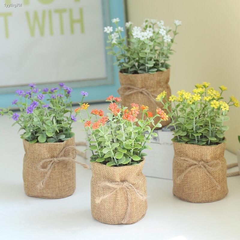 การจำลองพันธุ์ไม้อวบน้ำ⊕✷พระบ้านจำลองพืช ดอกไม้ปลอม กระถางต้นไม้ บอนไซขนาดเล็ก ถุงผ้า ห้องนั่งเล่น พืชสีเขียว ตกแต่ง