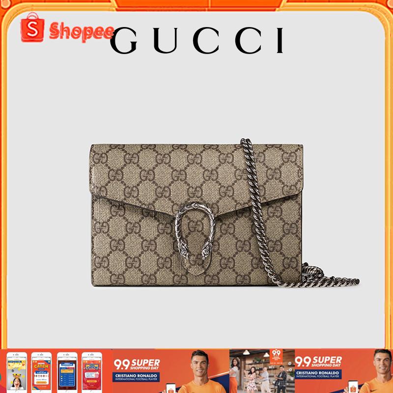 แท้💯%🔥Gucci Dionysus GG Supreme Canvas Chain Bag