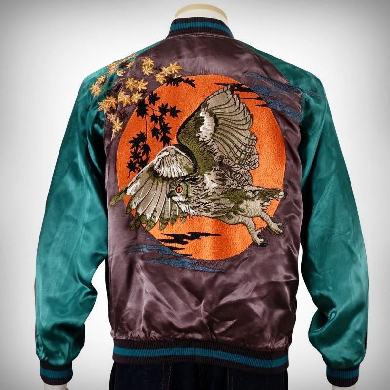 SUKAJAN แบรนด์แท้ญี่ปุ่น Japanese Souvenir Jacket แจ็คเกตซูกาจันลาย Maple Owl