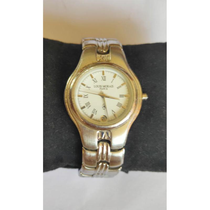 นาฬิกาแบรนด์เนมlouis MORAIS PARISหน้าปัดสีขาวมีช่องวันที่ สายสแตนเลสของแท้มือสองสภาพสวย