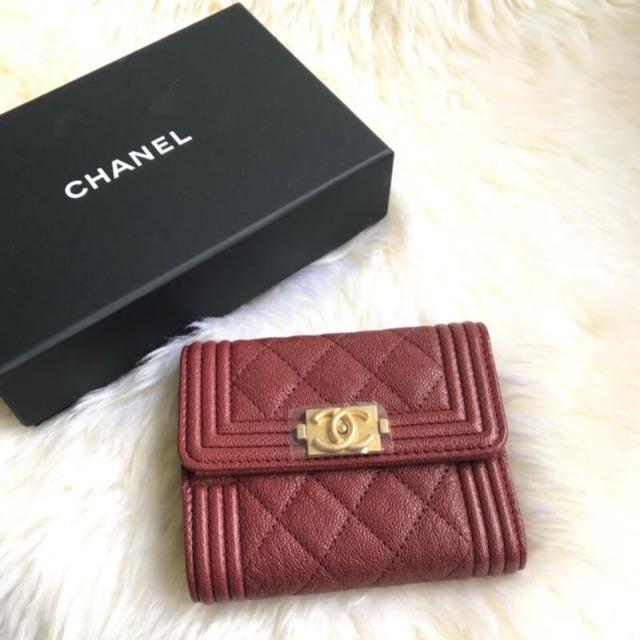 New Chanel Tri-fold boy compact wallet Rad caviar Shw