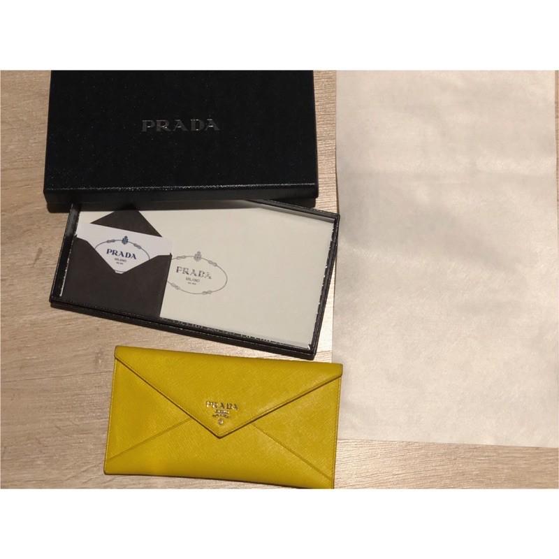 กระเป๋า สตางค์ Prada saffiano leather แท้มือสอง