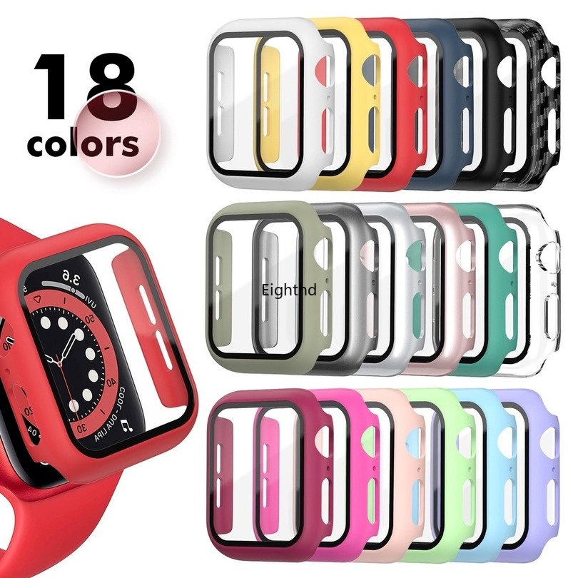 for Apple Watch 44mm 40mm 42mm 38mm Bumper Screen Protector for Iwatch SE 6 5 4 3 2 1 Tempered Glass Matte Plastic Watch Case