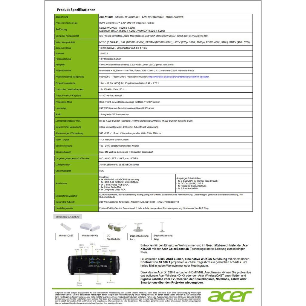 Acer X1626h Dlp Projector Shopee Thailand