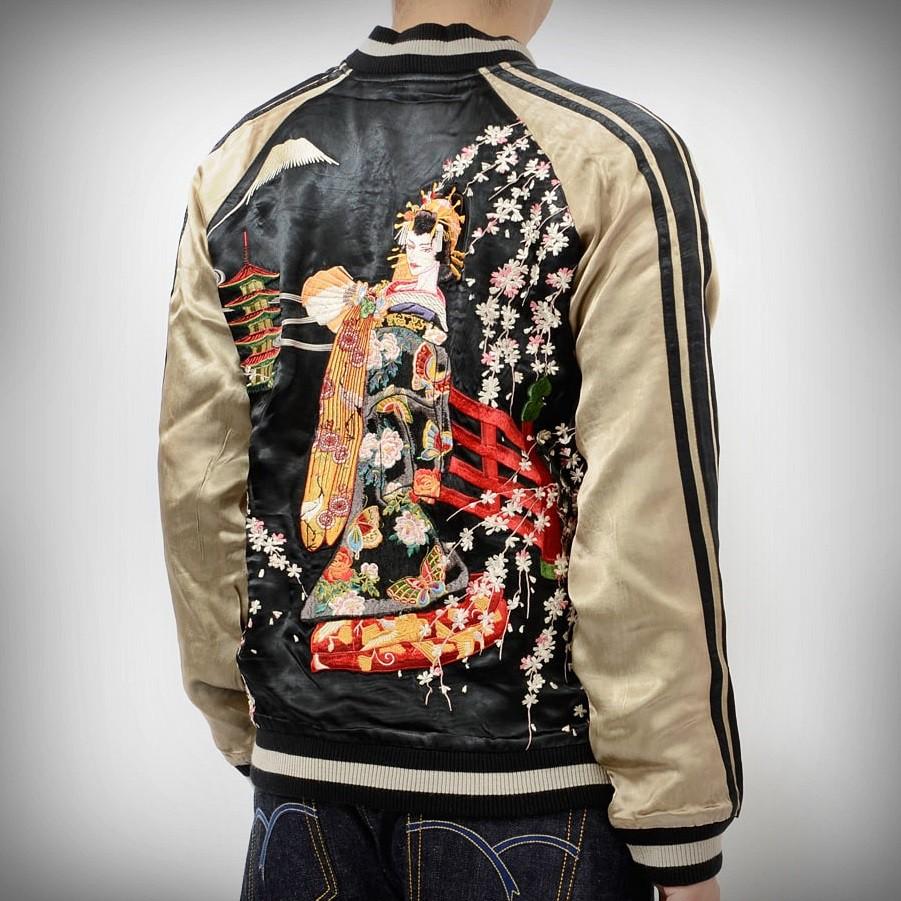 SUKAJAN แบรนด์แท้ญี่ปุ่น Japanese Souvenir Jacket แจ็คเกตซูกาจันลาย  Hanagura Sakura