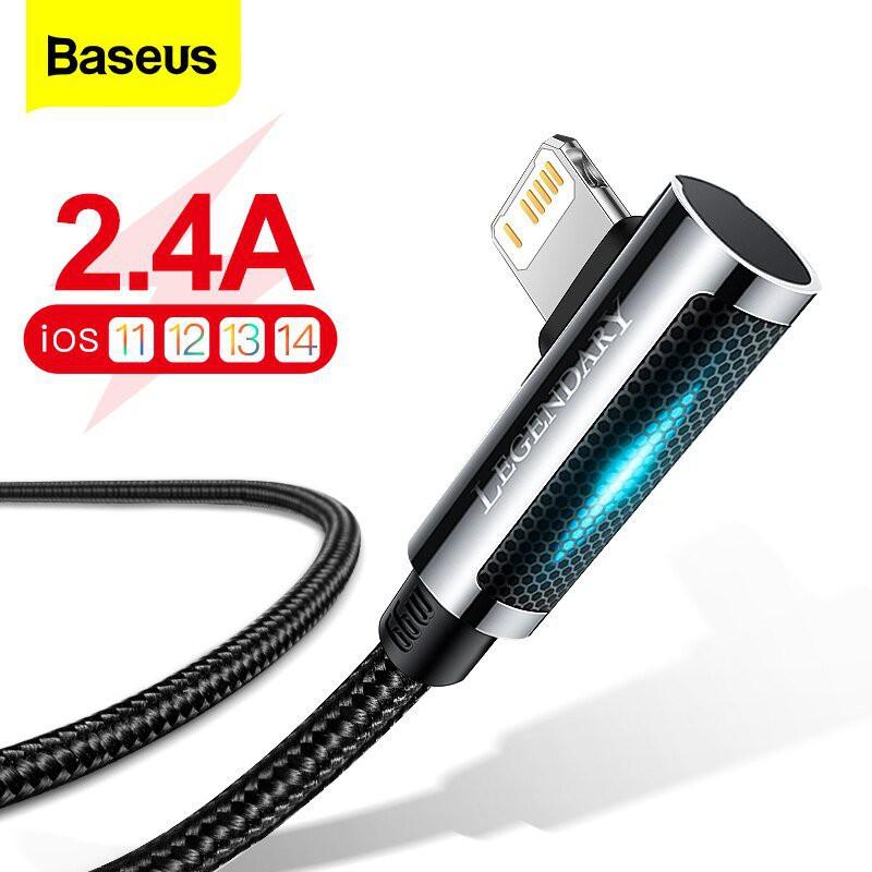 【ขายดี】 LED USB สายสำหรับ iPhone 12 11 Pro Max XS XR Pad Air 90องศา Fast Charger Charger สำหรับ iPad Airpods Pro สายโทรศ