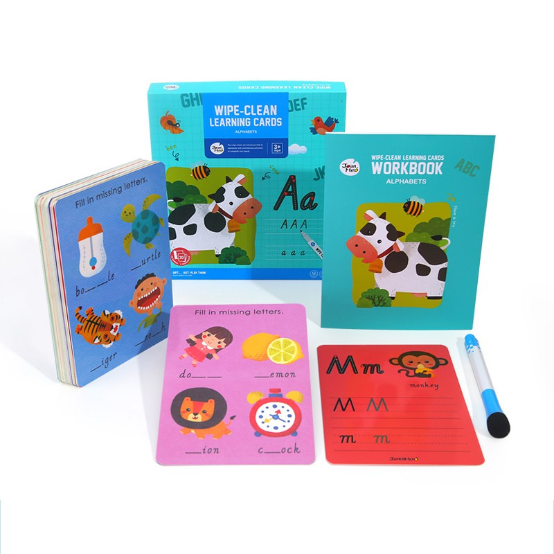 Wipe Clean Phonics With Reusable Stickers and 26 Wipe Clean Flash Cards
