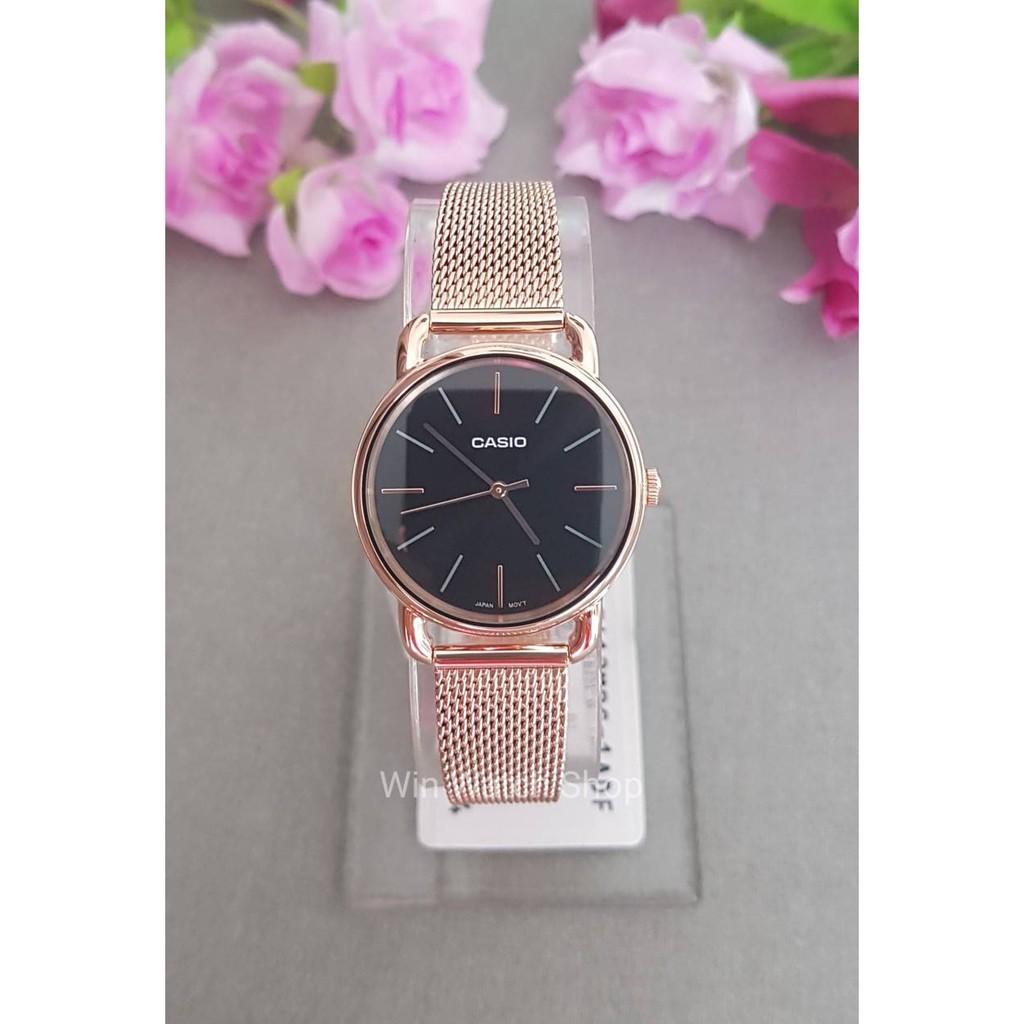 นาฬิกาCasio รุ่น LTP-E412MPG-1A นาฬิกาผู้หญิงสายสแตนเลส สีโรสโกลด์ หน้าปัดดำ - สินค้าใหม่ ของแท้ 100% รับประกันสินค้า1ปี
