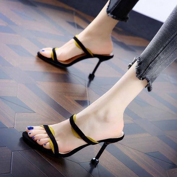 รองเท้าส้นสูงไซส์ใหญ่!รองเท้าคัชชู!รองเท้าส้นสูงมือสอง! รองเท้าแตะส้นสูง Stiletto และรองเท้าแตะผู้หญิงรองเท้าแตะเปิดส้นอารมณ์ทุกคู่ 20 ฤดูร้อนใหม่เกาหลีจับคู่ส้นสูง