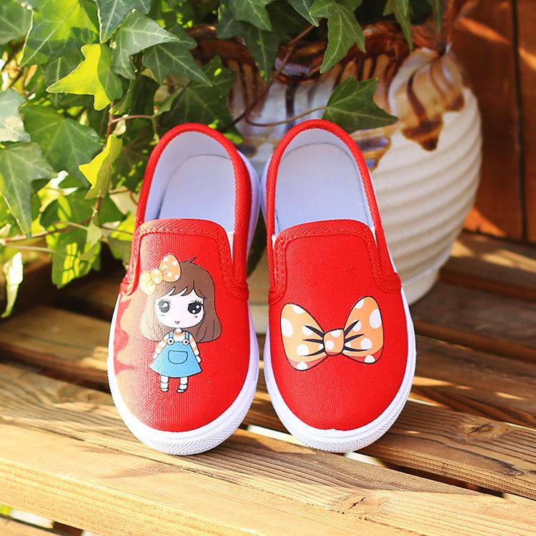 รองเท้าผ้าใบเด็กผู้หญิง รองเท้าลำลอง รองเท้าเด็กรองเท้าเจ้าหญิงวาดด้วยมือ รองเท้าคัชชูส้นเตี้ย