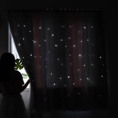 H61กาวในตัว Velcro ผ้าม่านสำเร็จรูปให้เช่าห้องนอนอ่าวหน้าต่างติดกาวฟรีเจาะติดตั้งผ้าม่าน