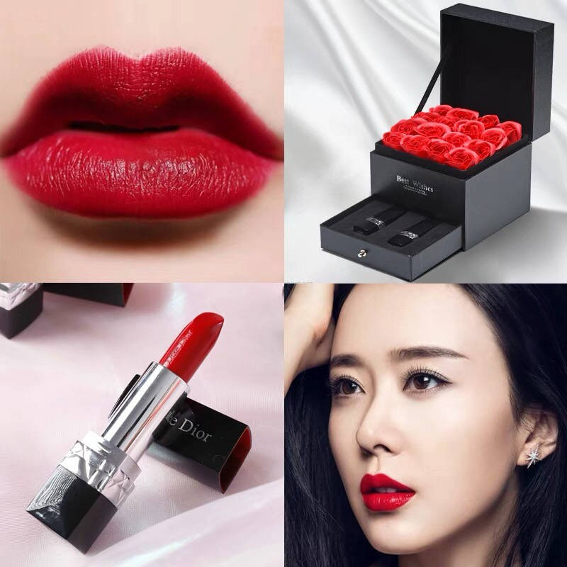 lip tint balm ♫แบรนด์ใหญ่ของแท้ Dicor Dior 999 matte lipstick moisturizing lipstick 520 วันวาเลนไทน์ให้ของขวัญวันเกิดแฟน