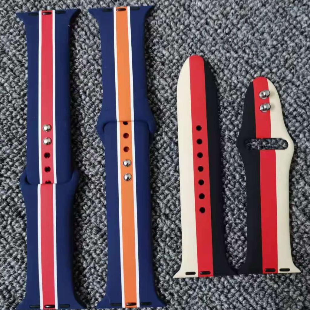 ลายสายรุ้ง  Apple Watch strap ซิลิโคนเหลว สายนาฬิกาข้อมือ iWatch Series SE 6 5 4 3 2 1 สาย applewatch 38 40 42 44mm