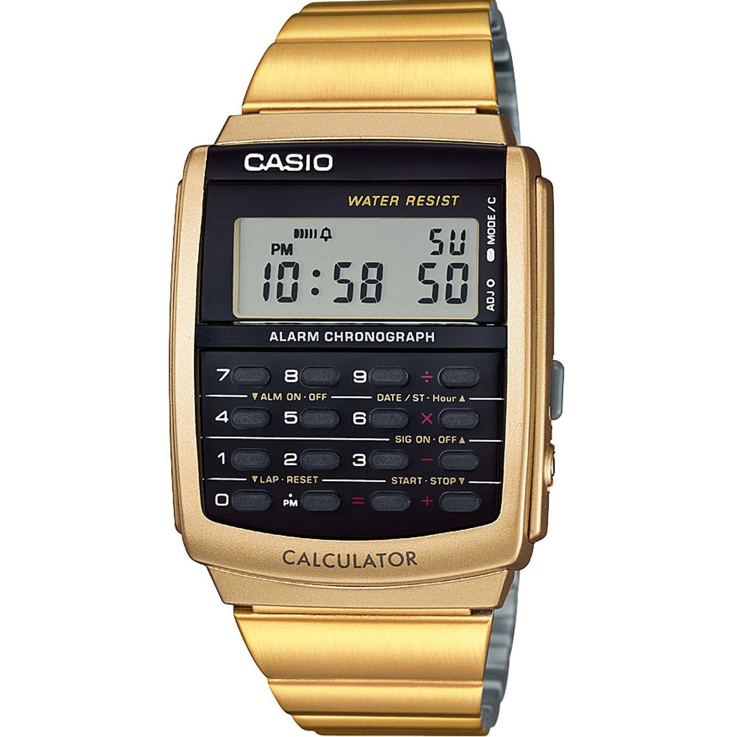 Casio DATA BANK นาฬิกาข้อมือเครื่องคิดเลข สีดำ/สีทอง สายสแตนเลส รุ่น CA-506 meQ0