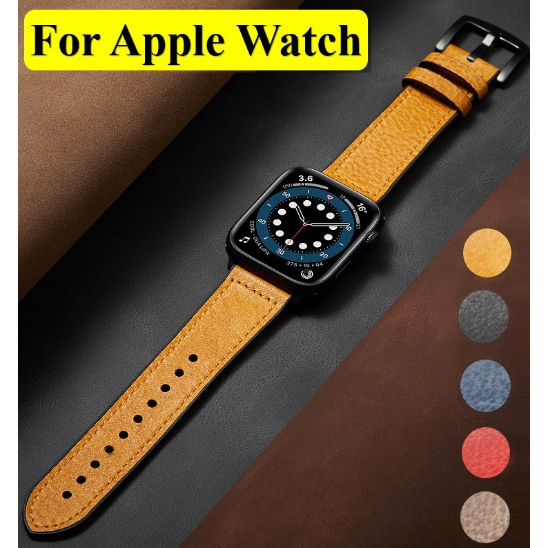 Apple Watch Strap Leather + Soft Rubber Apple Watch Watchband Iwatch Apple watch Series 6 5 4 3 2 1, Apple Watch SE Strap Applewatch size 38mm 40mm 42mm 44mm Band