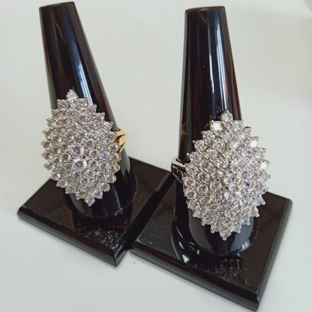 แหวน เพชร cz หยดน้ำ ชุบทองไมครอน และทองคำขาว ราคาพิเศษ