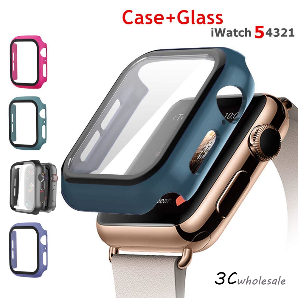 เคส Apple Watch Case+Tempered Glass Apple Watch 40mm 44mm Series 5 Screen Protector coverage case  iwatch Series 5 4 3 2 1 38mm 42mm