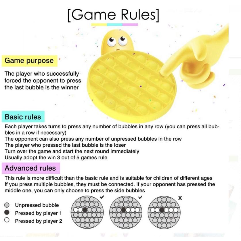 ของเล่นที่กดปุ่มบับเบิ้ล ของเล่นคลายเครียด รุ้งของเล่น Push bubble Pop it fidget toy ของเล่นบับเบิ้ลกด ป๊อปอัพ สีรุ้ง สําหรับเด็ก เล่นคลายเครียด ของเล่นบรรเทาความเครียด สําหรับเด็ก