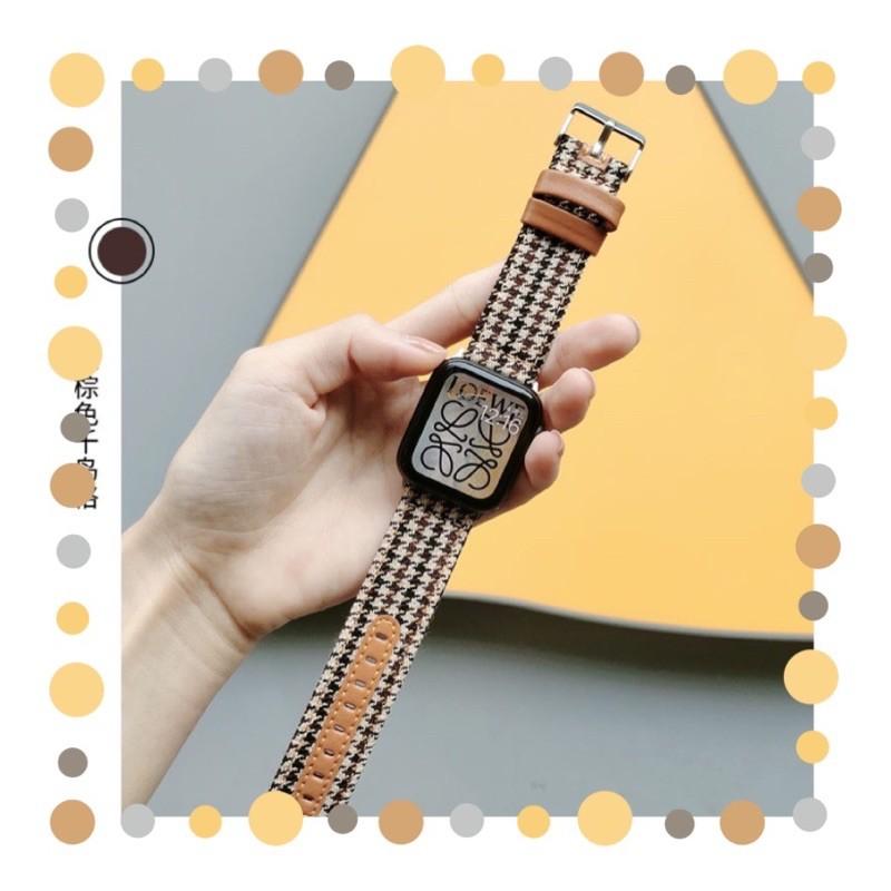 สายนาฬิกา สายสำหรับ AppleWatch series 1/2/3/4/5/6 SE  38/40/42/44mm สาย W55 /W56 X6 pro Max  p90 watch 5 สายหนัง+ผ้า