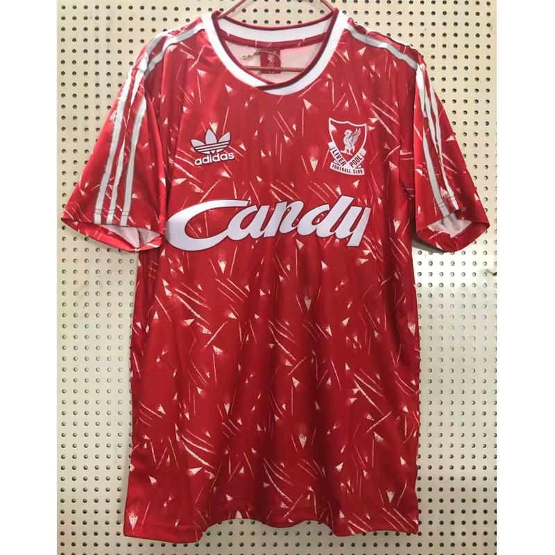 คุณภาพสูงสุด 1989-1991 Liverpool Home ย้อนยุค เสื้อฟุตบอล Football Jersey เสื้อลิเวอร์พูล ทีมเหย้า เสื้อกีฬา