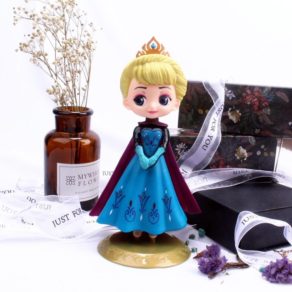 Ready Stock 18cm Cute Elsa Princess New Car Ornaments Decoration Q Posket Elsa Action Figure Girl Cake Topper Decoration