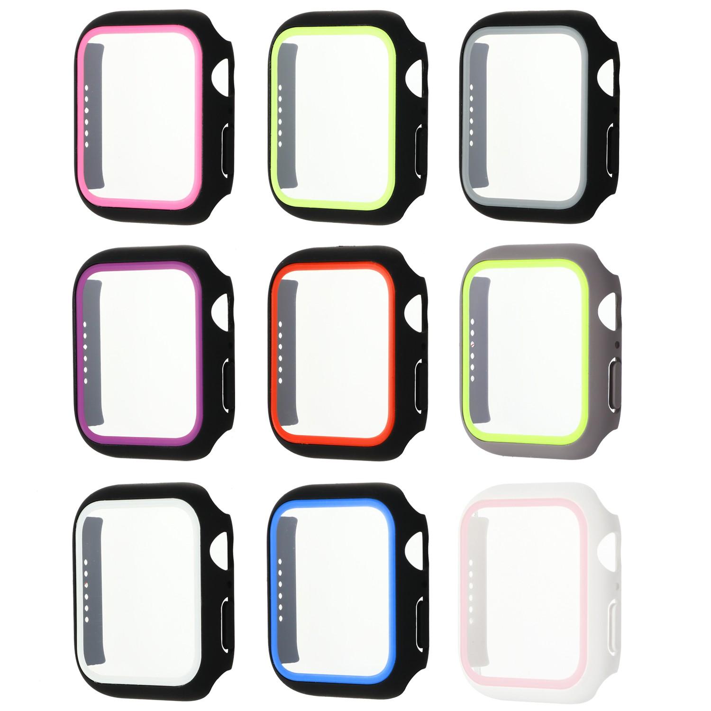 กระจกนิรภัย + PC Watch Case Dual Color สำหรับ Apple Watch 38mm 40mm 42mm 44mm สำหรับ IWatch Series 1/2/3/4/5/6 / SE