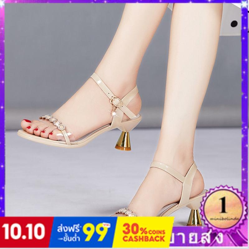 ⭐👠รองเท้าส้นสูง หัวแหลม ส้นเข็ม ใส่สบาย New Fshion รองเท้าคัชชูหัวแหลม  รองเท้าแฟชั่นรองเท้าแตะผู้หญิงใหม่กับแฟชั่นหนากั