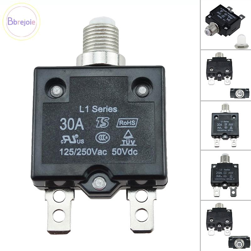5A-30A 50V Push Button Resettable Reset Thermal Circuit Breaker Panel Mount US#