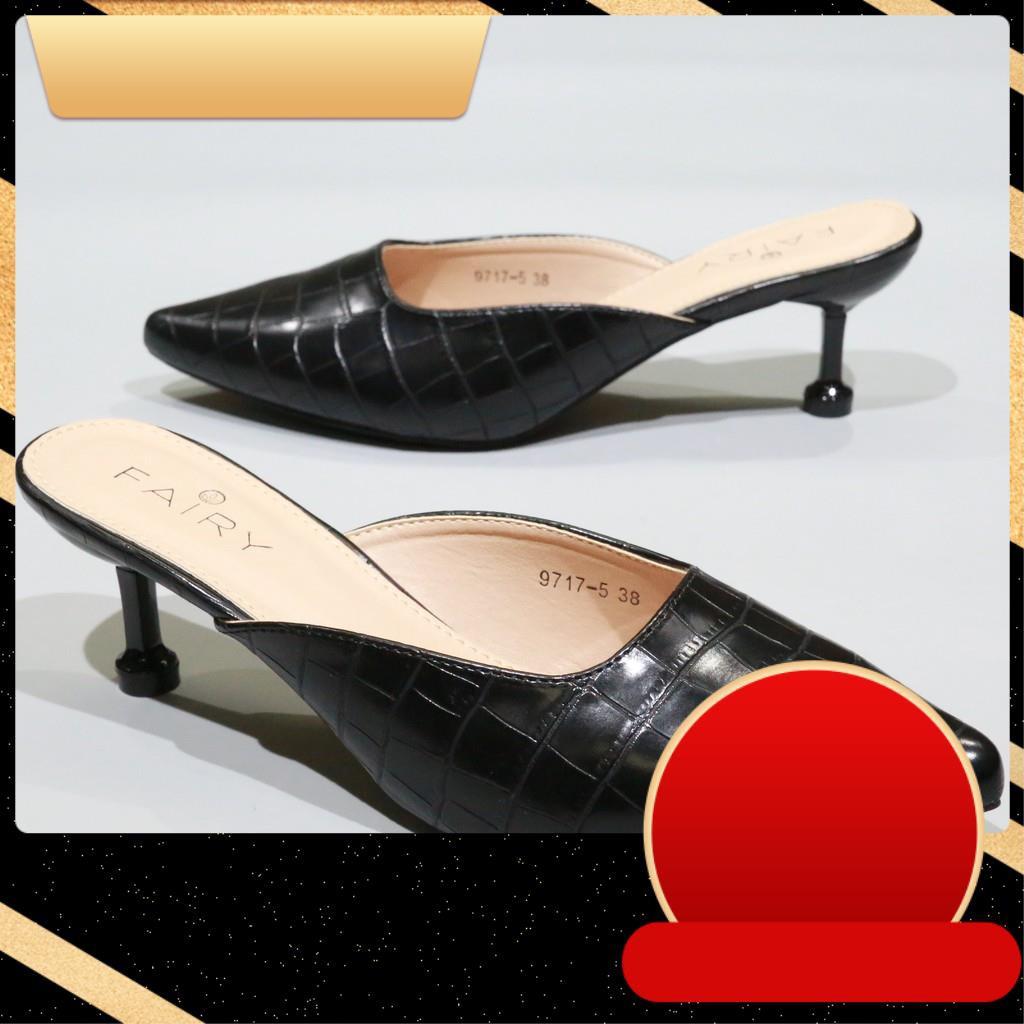 """♥♥♥ 9717-5 คัชชูเปิดส้นสูง 2.5""""  รองเท้าคัชชูหัวแหลมเปิดส้น  รองเท้าส้นสูง แฟชั่น FAIRY"""