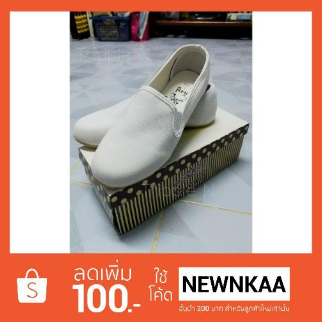 รองเท้า รองเท้าคัชชูเปิดส้น รองเท้าแตะรัดส้น รองเท้ากังฟูสีขาว-ดำ พื้นยางนุ่ม ใส่สบาย