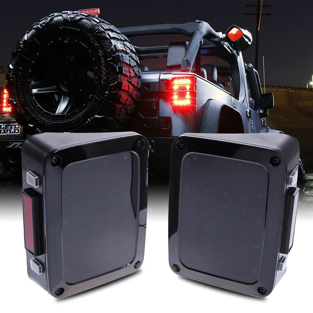 Black LED Tail Lights LED Lamps With Brake For 2007-2016 Jeep Wrangler JK