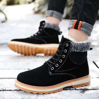 Men/'s Leather Lace Up Sneakers Winter Warm Ankle Boots Hiking Thicken Snow Shoes
