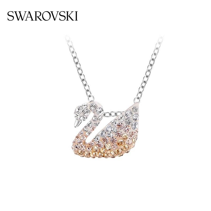 【ขายตรงอย่างเป็นทางการ】Swarovski ไล่ระดับสีหงส์ ICONIC SWAN  สร้อยคอ ป่า ของขวัญแฟนสาว