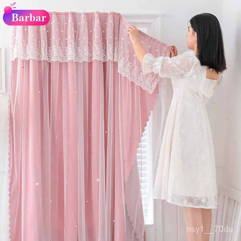 [Barbaraa Store] ผ้าม่าน ผ้าม่านสำเร็จรูป ผ้าม่านติดตีนตุ๊กแก tf5F