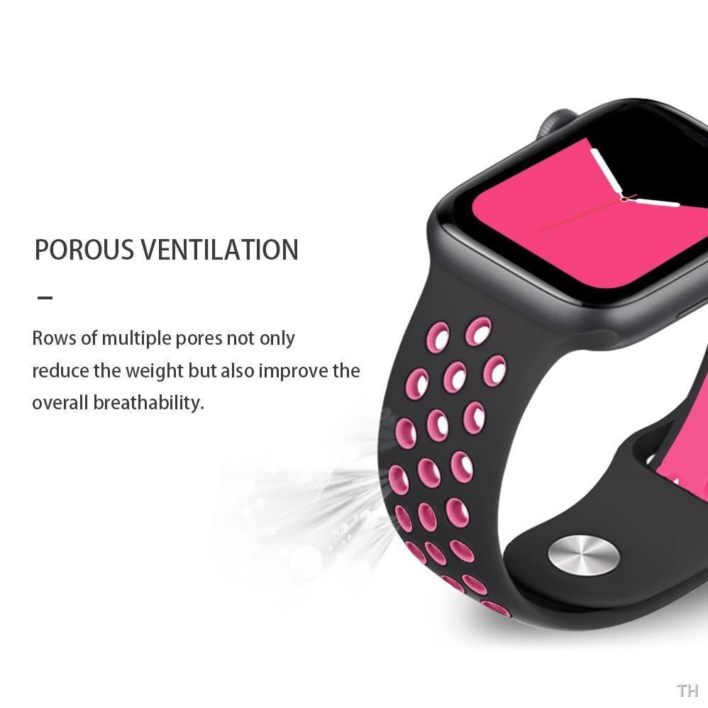 ในทางปฏิบัติ▤♣▣ஐ┇[ส่งเร็ว สต๊อกไทย] สาย Apple Watch Nike Sport Band สายซิลิโคน สำหรับ applewatch Series 6 5 4 3 ตัวเรื่อ