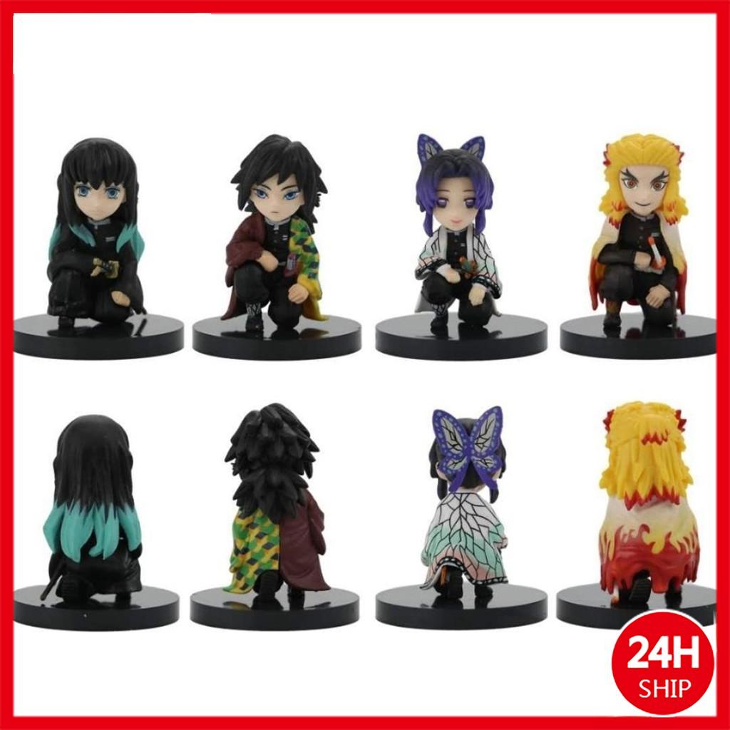 4pcs/set Demon Slayer action figure Kyoujurou/Shinobu/Zenitsu/ Inosuke Squatting doll collection w4eZ