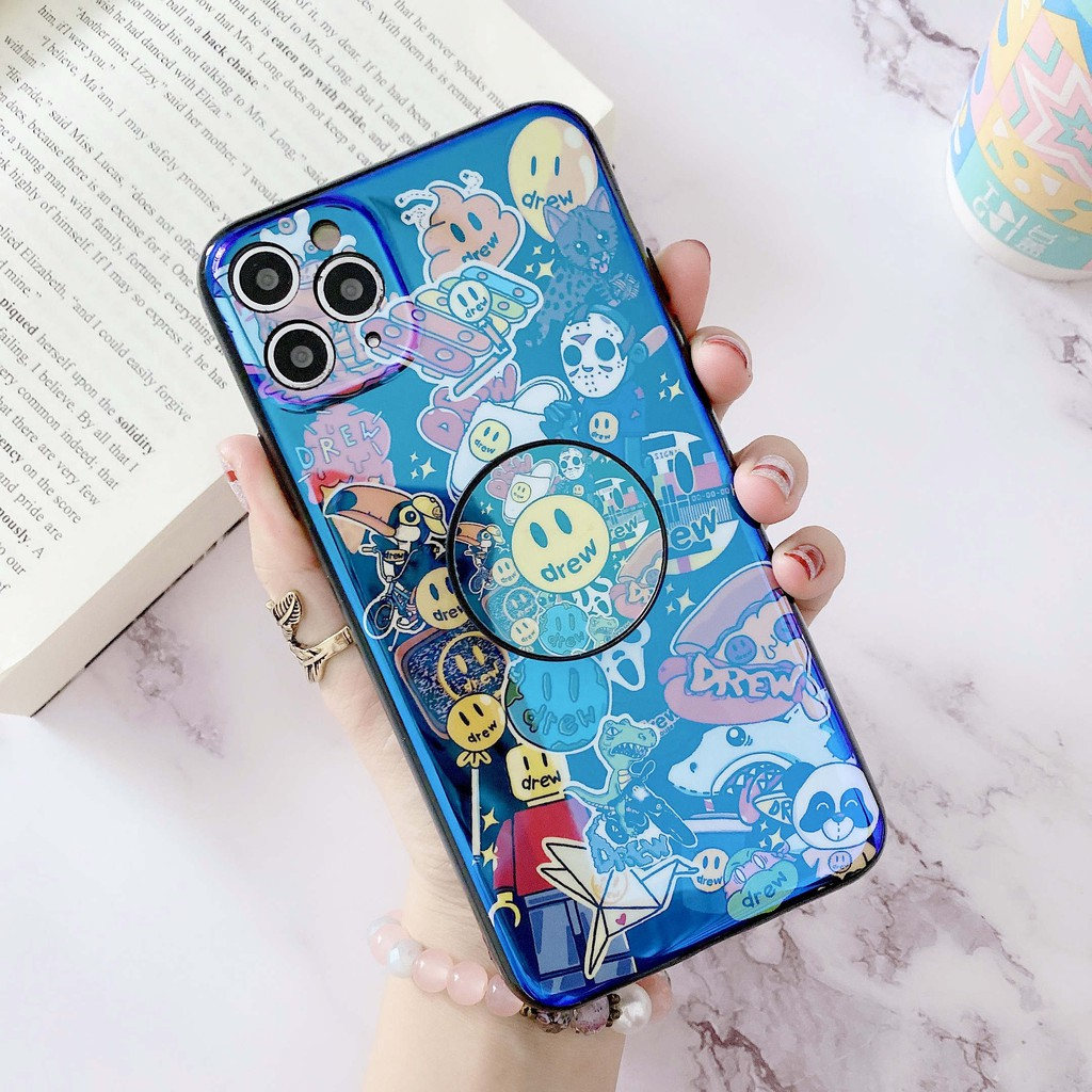 Soft Case + HolderSamsung A8S A8 Star A9 Star A6S A8 Plus A9S A9 Star Pro A9 A6 Stylish Smiley Blue Ray TPU Phone Cover