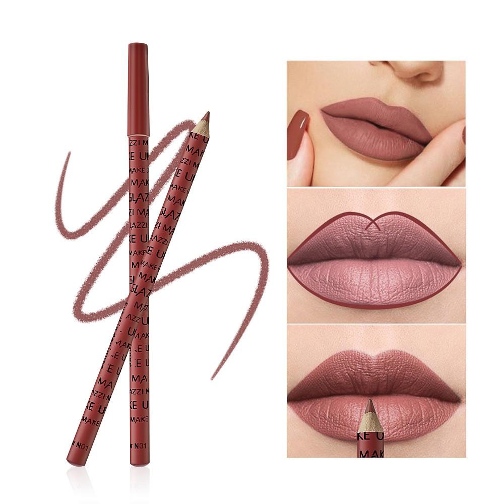 12pcs Set Cosmetic Professional Wood Lipliner Waterproof Lady Charming Lip Liner Soft Pencil Contour Makeup Lipstick Too ลดเหล อ 74
