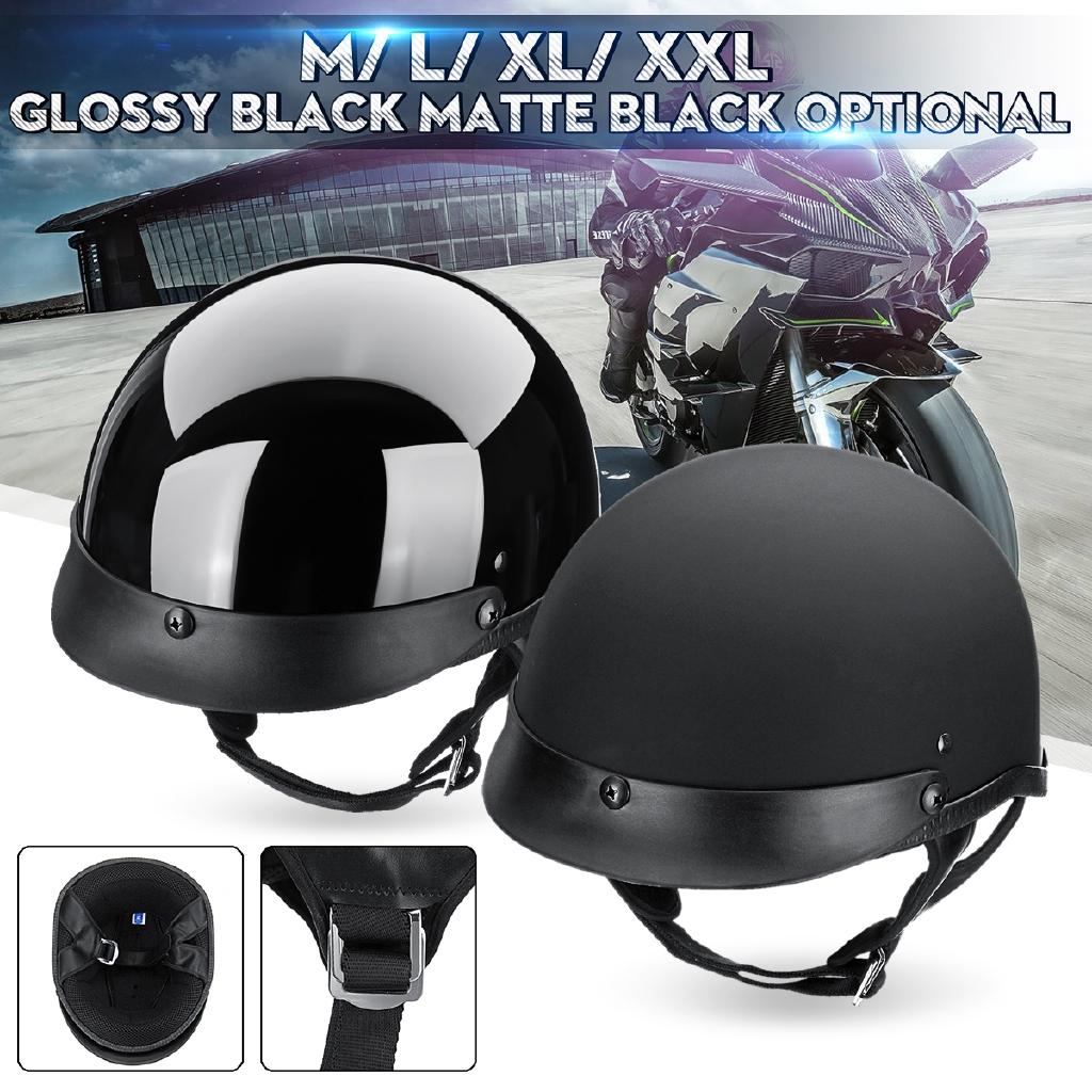 Gloss Black DOT German Motorcycle Half Face Helmet Chopper Cruiser Biker M~XL US