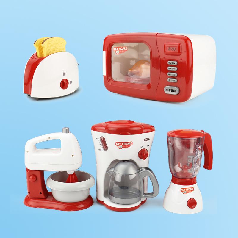 เด็กจำลองคั้นน้ำผลไม้ครัวของเล่นผลไม้เตาอบไฟฟ้าเตาอบไมโครเวฟเครื่องชงกาแฟเครื่องทำไวน์