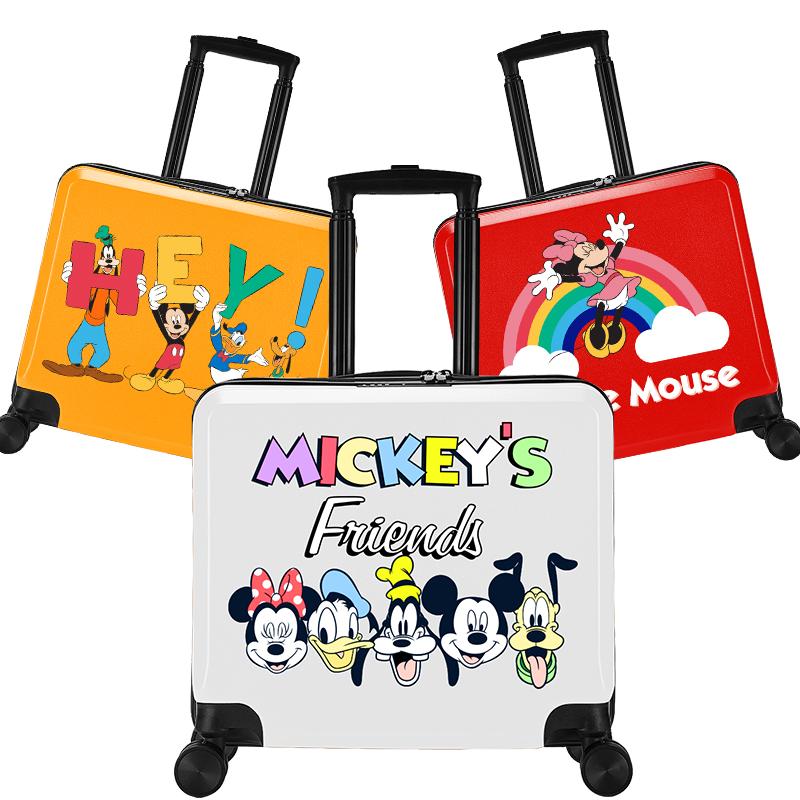 ✄ル กระเป๋าเดินทางล้อลาก กระเป๋าเดินทางล้อลากใบเล็กกระเป๋าเด็กดิสนีย์สามารถเมาผู้ชายมิกกี้สาวการ์ตูนกระเป๋าเดินทางนักเรีย