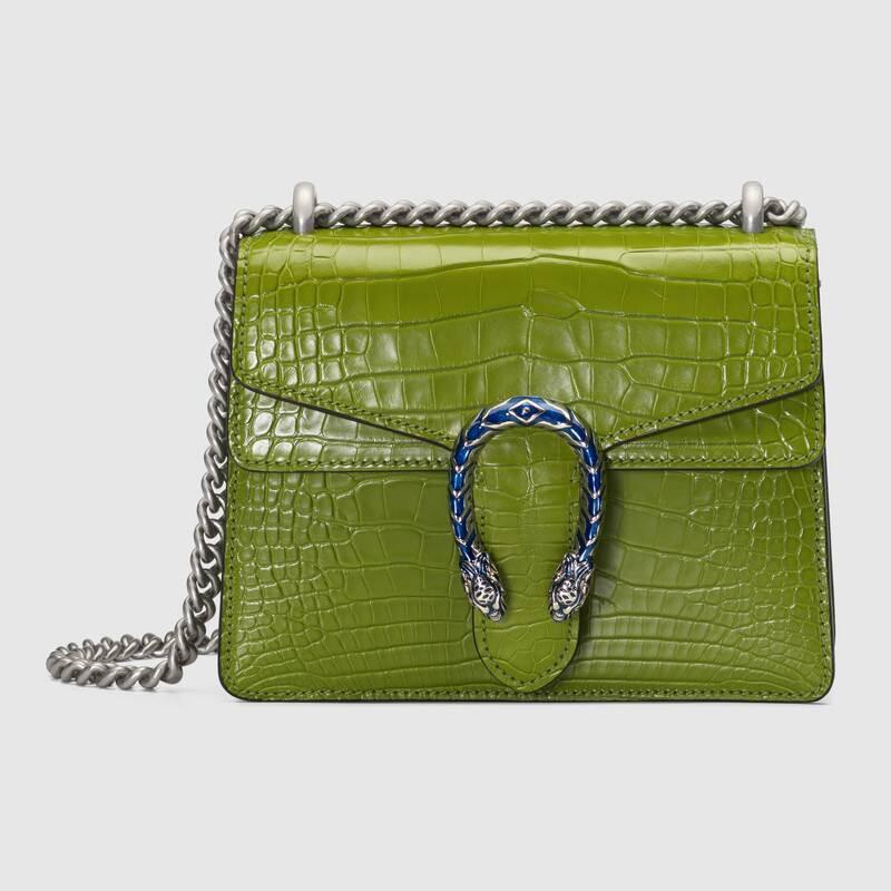 ใหม่ Gucci Dionysus ซีรีส์กระเป๋าถือหนังจระเข้ขนาดเล็ก 20 ซม. สีเขียวมรกต
